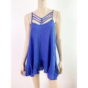 Entro Blue Strappy Gauze Ruffle Trapeze Slip Dress